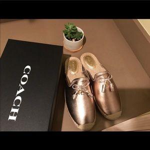 Coach Gold Mule Shoes